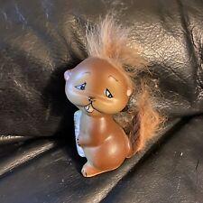 Vintage Enesco Ceramic Beaver Figurine with faux Hair. Cute!