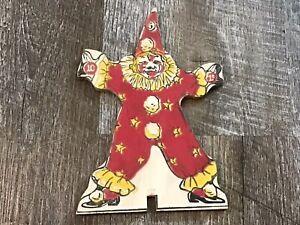 Vintage 1920s Wood Wooden Clown Game Piece ?