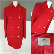 AQUASCUTUM Womens Coat 16 Red Pea Coat Wool Cashmere Jacket IMMACULATE