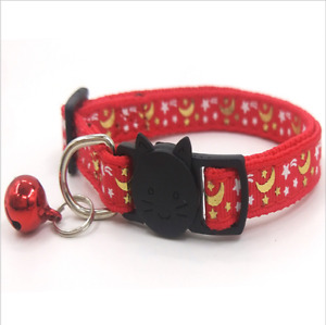 Star moon cat collar breakaway with bell 1cm *18-30cm up to 50% off!