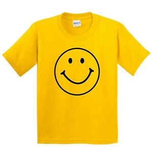 Yellow Smiley Face T Shirt - Kids to Adult size Happy Smile Fun Tee