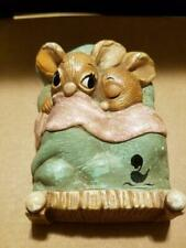 Vintage Pendelfin Rabbit Twins In Bed Made In England Handpainted Stone-Craft