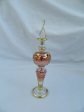 """1 Egyptian Glass Perfume Bottle Handmade Gold Accent Fancy Unique 6.25"""" # 255"""