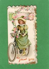 Embossed Children Cycling Greetings Card 1899 NOT A POSTCARD Ref K217