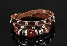 18k White Gold GP Classic Leather Bracelet Beads Stud Brown