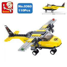 B0360 Building Blocks Yellow Helicopter Plan Construction Kits Toys Children Diy