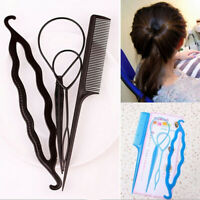 4PCS BRAIDING COMB TOPSY TAIL HAIR LOOP DIY BUN DONUT MAKER STYLING TOOLS