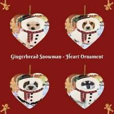 Gingerbread Snowman Dog Cat Pet Photo Heart Christmas Tree Ornament Decor