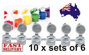 10 x Set of 6 Kids Arts Craft Mini Resealable Plastic Paint Pots Tubs (6x3ml)