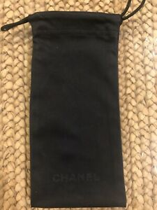 Chanel Sunglass Pouch Case Black Logo Drawstring Italy