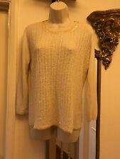 Elegant Beaded Max Mara cream top blouse pullover jumper silk & cashmere size M