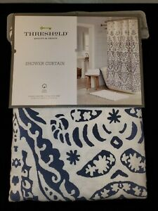 """Threshold White and Blue Ogee Ombre Shower Curtain 72"""" X 72"""" 100% Cotton"""