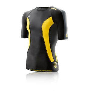 Skins Mens DNAmic Compression Short Sleeve Top Black Grey Yellow Sports Running