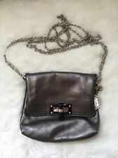 Authentic Lanvin Sac Mini Pop Happy Crossbody Bag - Metallic Silver Gray Leather