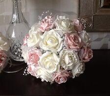 WEDDING FLOWERS BRIDES IVORY/PEARLISED BABY PINK/PEARL FOAM ROSE BRIDAL BOUQUET