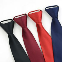 Men Solid Color Stripe Zipper Neck Tie 8CM Party Formal Business Wedding Necktie