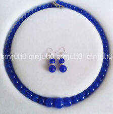 "6-14mm Sapphire Gemstones Round Beads Necklace Earrings Jewelry Set 18"" JN718"