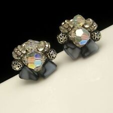 Vintage Clip Statement Earrings AB Crystals Rhinestones Beads Gray Black