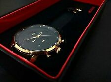 MVMT Watches Chrono Gold Black Leather Men's Luxury Watch *New in box