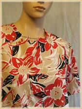 "BONWORTH Floral Polyester Career Blouse (PS) 40"" bust Blouson Red Black Beige"