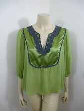 *Studio M* NWT Green 3/4 Sleeve See Thru Woman Top Blouse Size M