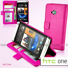 PINK Premium Wallet Flip Stand Leather Case Cover F HTC ONE M7 810e +SP +Stylus