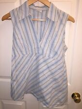 USED MOTHERHOOD MATERNITY LARGE L SHIRT BLUE TAN WHITE STRIPES