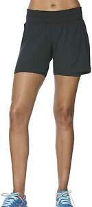 Asics Women's 2-In-1 Shorts 5.5 Inch Sports Running Shorts - Black - New