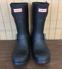 HUNTER Womens 10 Black Matte Original Short Biker Boots Rain Rubber Buckle Zip
