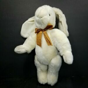 "Bearly People Bunny Rabbit Jointed Tan Brown Bow Plush Stuffed Animal 16"" Soft"