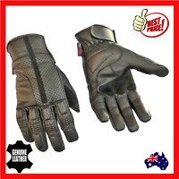 Mens Leather Motorcycle Motorbike Gloves Perforated New Lightweight Breathable