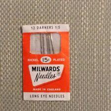 MILWARDS NEEDLES - DARNERS - LONG EYE NEEDLES 1/5 - MADE IN ENGLAND