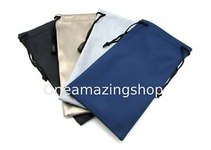 5 x Glasses Sunglasses Pouch Black Gold Grey Navy Blue Drawstring Soft Case