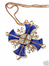 """k Gold Pendant Necklace Swarovski 1"""" Silver 925 Opens Jerusalem Cross Plated 18"""