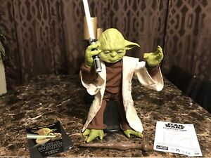 Star Wars Legendary Jedi Master Yoda wLightsaber Figure Moves Talks Discontinued