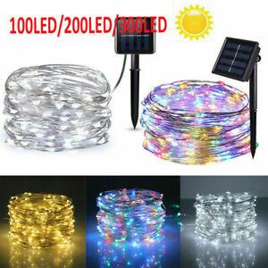 10M 20M LED Solar String Lights Waterproof Copper Wire Fairy Outdoor Garden UK