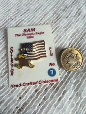 Lot of 2 Sam the Eagle Olympic Pin LA 1984 American Flag Pin #7 On card/ Team 84