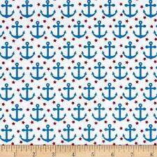 Fabric Nautical Anchors Red Stars on White Cotton 1/4 Yards