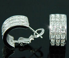 White Gold Plated Huggie Earrings use Swarovski Crystal SE137