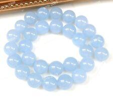 "6mm Natural Light Blue Jade Chalcedony Round Gemstone Loose Beads Strand 15"""