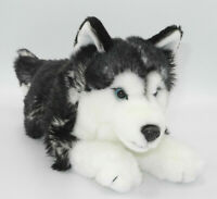 Uni-Toys Neuware wunderschöner Hund Husky dunkel ca. 35cm lang