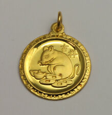 24K Solid Yellow Gold Rat Mouse Round Charm Pendant 3.3 Grams