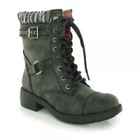 Rocket Dog THUNDER Ladies Womens Lace Up Biker Winter High Ankle Boots Black