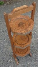 Arts & Crafts antique Art Deco solid golden oak 3 tier folding shelf cake stand