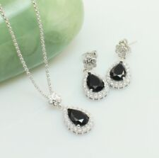 Black Crystal Cubic Zirconia Jewellery Set, Necklace-Earrings Bridal Set