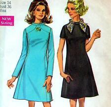 "Vintage 60s Mod DRESS Sewing Pattern FF UNCUT Bust 36"" Size 12 RETRO Shaped Yoke"