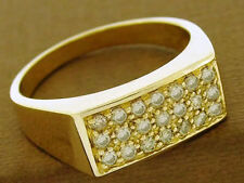 R153 GENUINE 9ct 9K Solid Gold NATURAL Sparkling 0.75ct Diamond Pave Ring size T