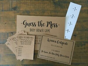 Baby Shower Guess the Mess Nappy Game, Activity, Cards, Certificate, Stickers