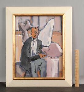 Original MAX COHN Gouache Painting HANS JEAN ARP Dadaist Sculptor Sculptures