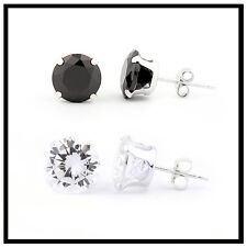 Sterling Silver Men's, Women's CZ Round Stud Earrings Clear & black ear stud S14